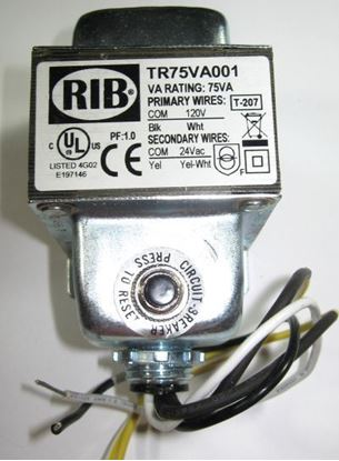 Picture of TR75VA001 - Transformer 75VA, 120 to 24VAC with Circuit Breaker